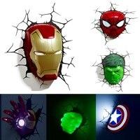 Marvel avengers LED Night light 3D creative wall lamp decorated night lamp bedside bedroom living room children gift|LED Night Lights| |  -