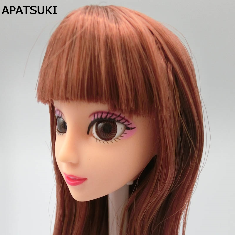 DIY Kids Toy Gift Brown Striaght Hair Doll Head 3D Real Eye Chinese Doll Heads For 11.5