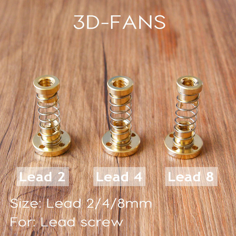цена на 1Set 8mm TR8 - 8mm 4mm 2mm Lead Screw Trapezoidal ACME w/ Anti-Backlash Anti Backlash Nut for CNC or 3D printer spare parts