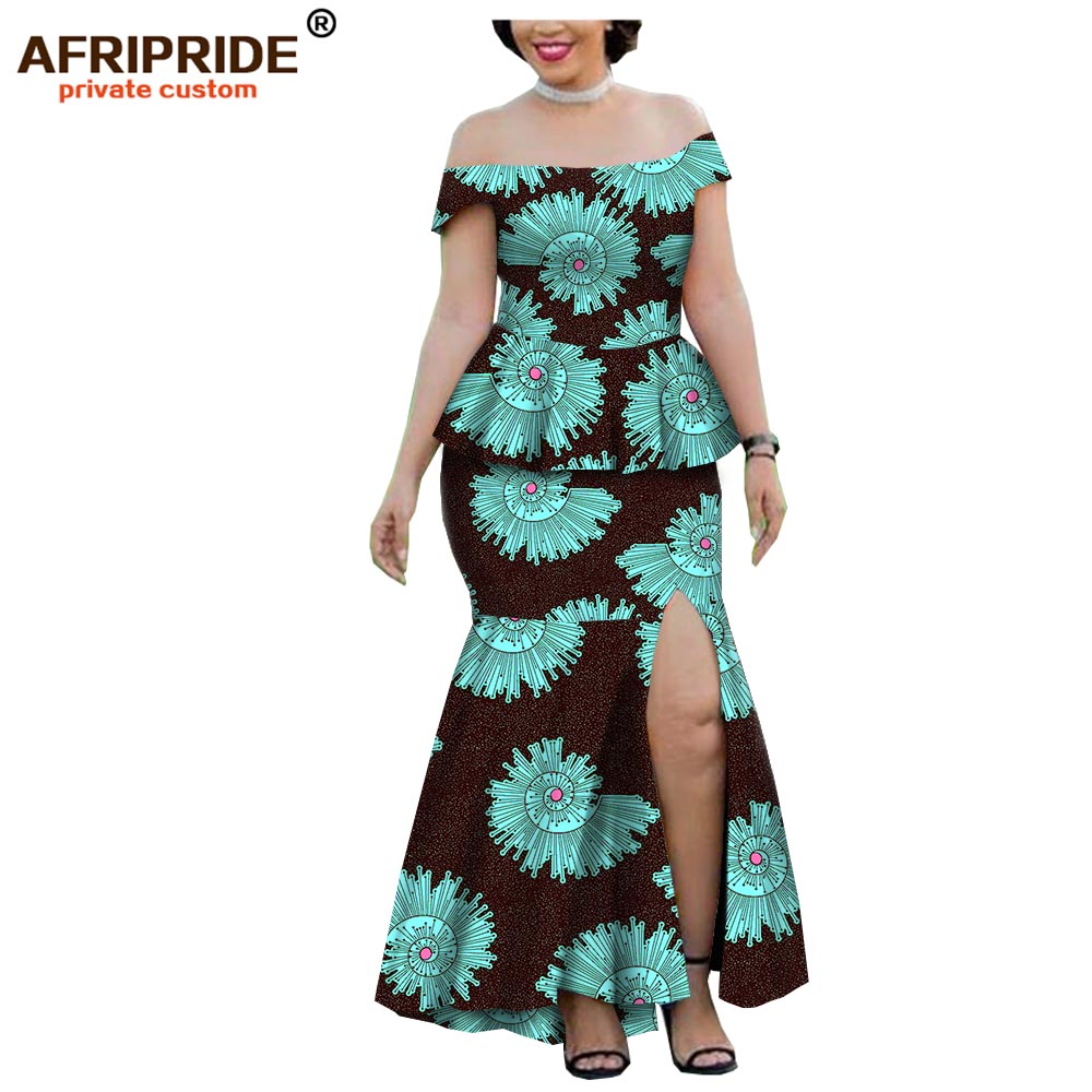 2019 spring wax african clothes 2 pieces skirt set for women AFRIPRIDE strapless top ankle length