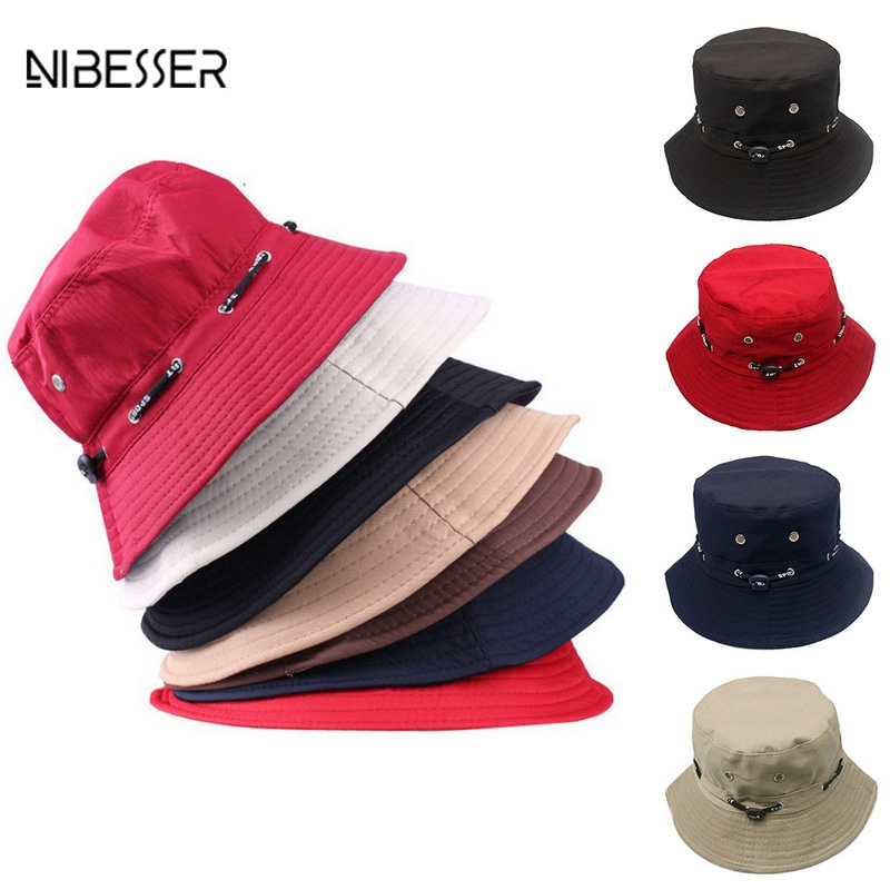 NIBESSER Bucket Hats For Women Men Fashion Solid Bucket Hats Hip Hop Summer Caps Beach Comfortable Fisherman Hat Dropshipping