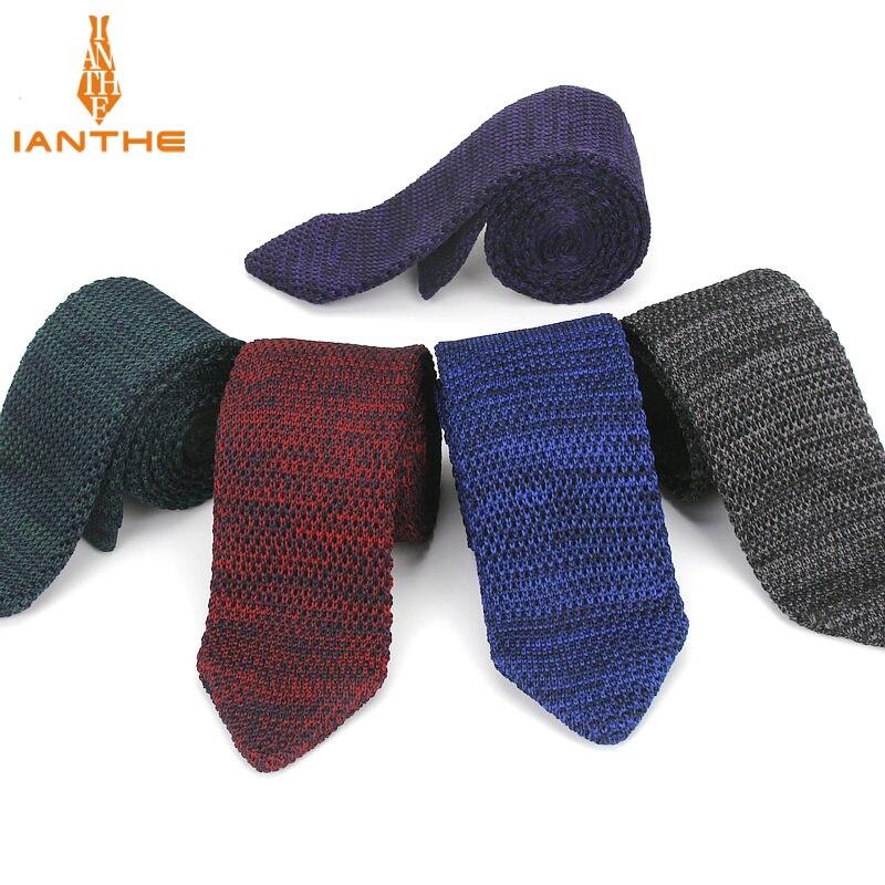 Fashion Slim Neck Tie Wedding Knitt Necktie For Men Skinny Knit Ties Man Gravata Polyester Narrow Knitted Brand New 6cm Neckties
