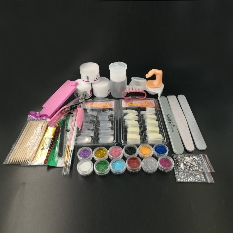 Professional Nail Art Kit Glitter Powder Nail Art Brush Brushes File Manicure DIY Craft Tools Fits All Fingernails Toenails manicure nail polishing file wax brush purple off white 2 pcs