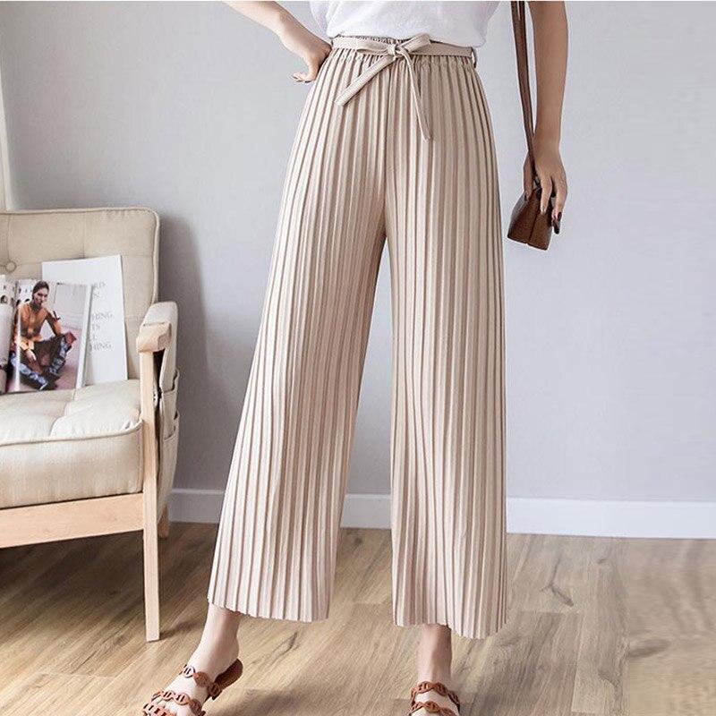 5e628b1827 LZMZA moda plisado Pantalones de pierna ancha de cintura alta de mujeres  Harajuku suelta Pantalones casuales