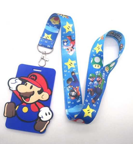 Nova 1 pcs cartão com fita para o Pescoço Colhedor Do Telefone Móvel Encantos Super Mario Chaveiro G2