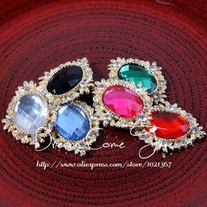 Image 5 - 200 adet/grup 6 Renk Dekoratif düğmeler Metal Rhinestone düğmeler craft Flatback Kristal düğmeler At göz altın düğmeler mix