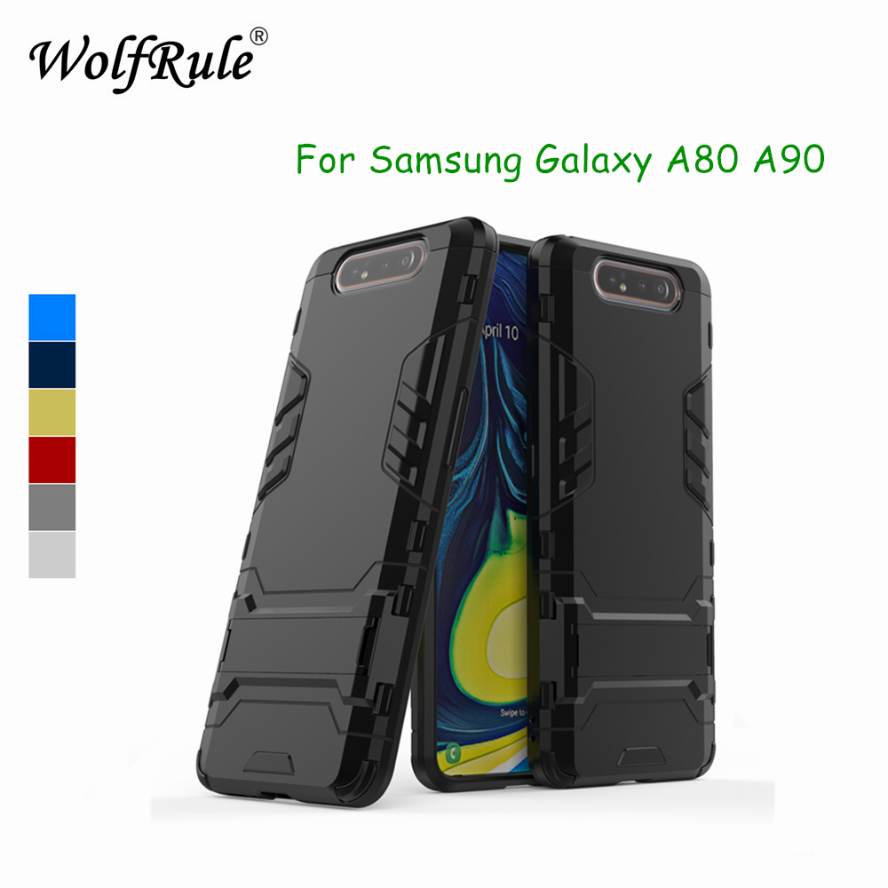 Voor Samsung Galaxy A80 zachte rubberen beschermhoes + plastic hoes voor Samsung A80 A90 anti-zwaaien Fonda A805F Standhouder telefoonhoes