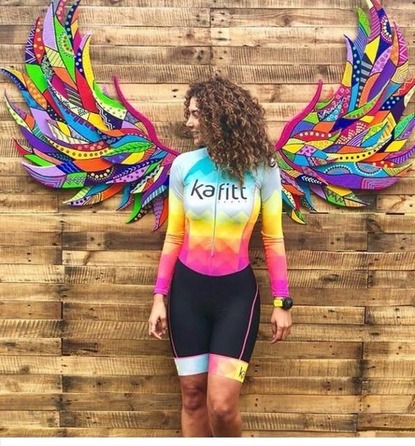 2019 Pro Equipe de Ciclismo de manga comprida Jersey Skinsuit Triathlon Terno das Mulheres Jumpsuit conjunto Maillot ciclismo Ropa ciclismo gel 3