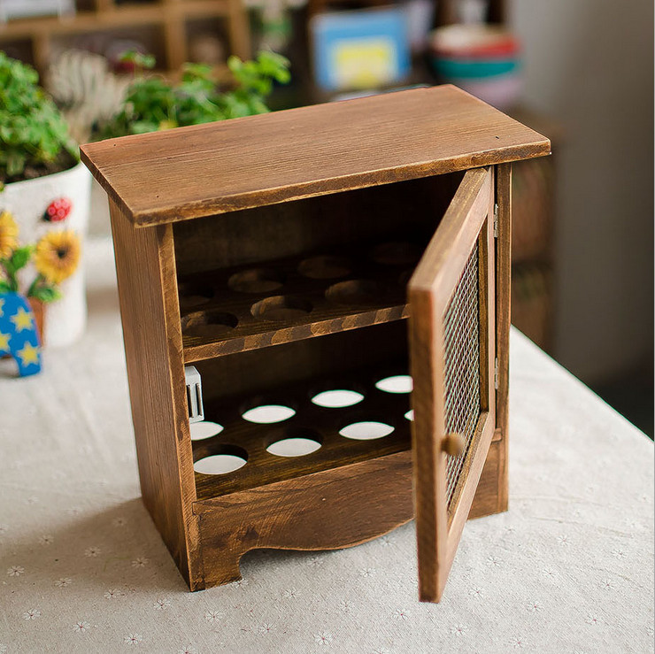 Retro Look Vintage Egg Storage Box Wooden Egg Holder Egg Stand Rack