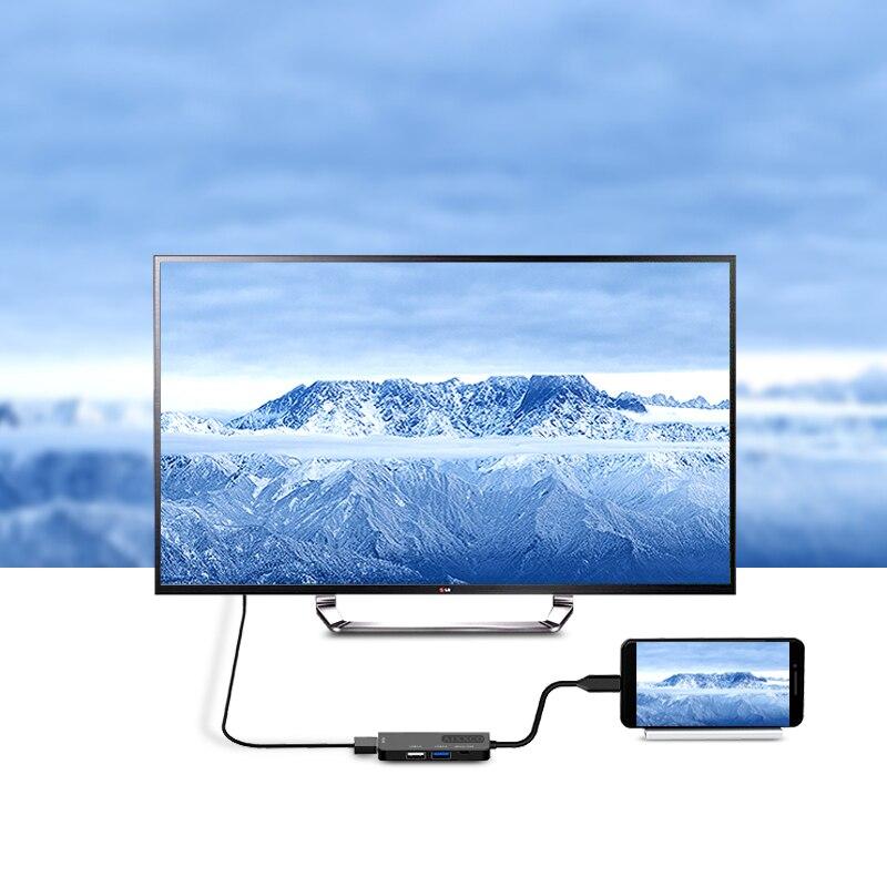 AIXXCO USB C HUB USB-C to 3.0 HUB HDMI Thunderbolt 3 Adapter for MacBook Samsung Galaxy S9 Huawei P20 Mate 20 Pro Type C USB HUB