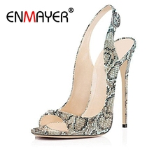 купить ENMAYER Woman Summer Sandals High Heels Peep Toe Thin heels Serpentine Buckle strap Thin heels Lady shoes Sexy Shoes woman CR8 дешево