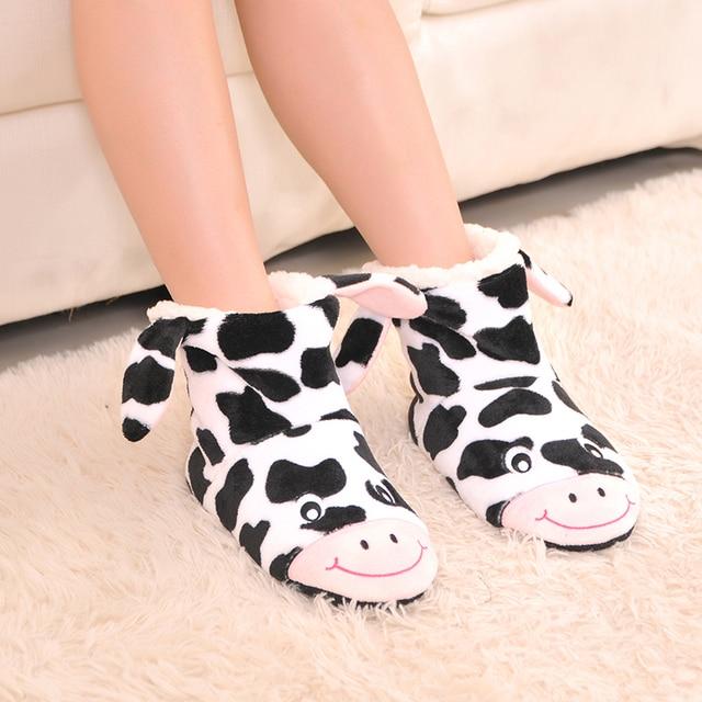 2016 новый мультфильм коровы плюшевые Крытый тапочки, мягкой подошве тапочки носить дома, чтобы не повредить пол в Помещении тапочки