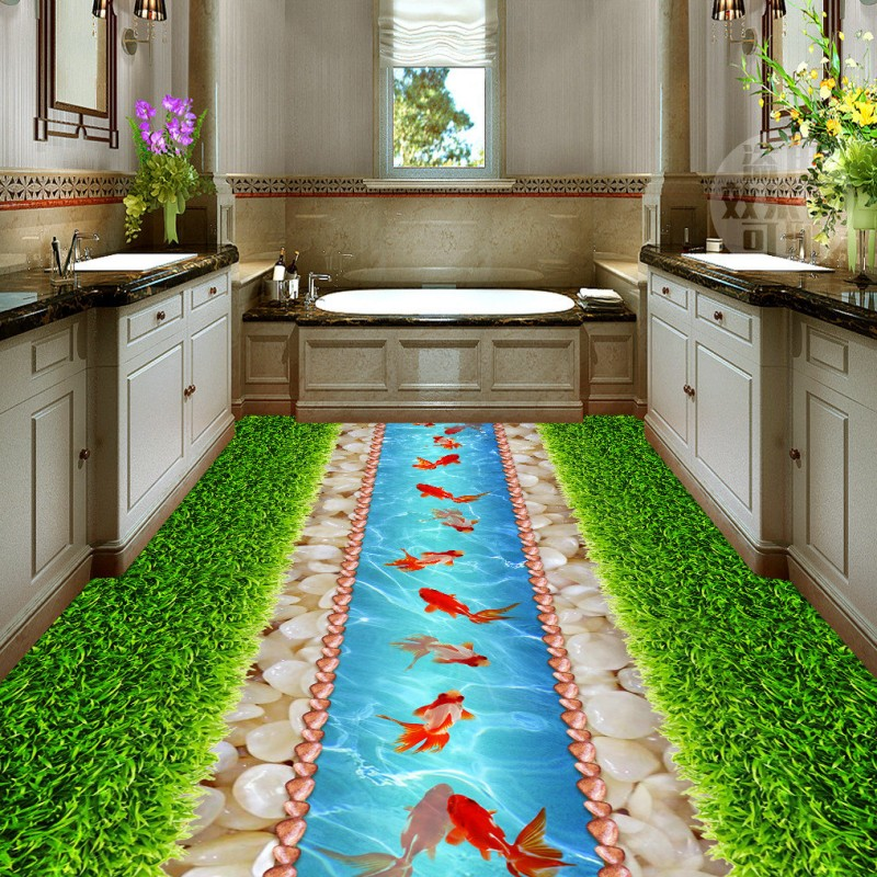 купить Free Shipping office bathroom kitchen flooring painting Green grass pebbles goldfish waterproof floor wallpaper mural дешево