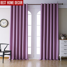 Modern blackout curtains for living room bedroom curtains for window drapes pink finished blackout curtains 1 panel blinds(China)