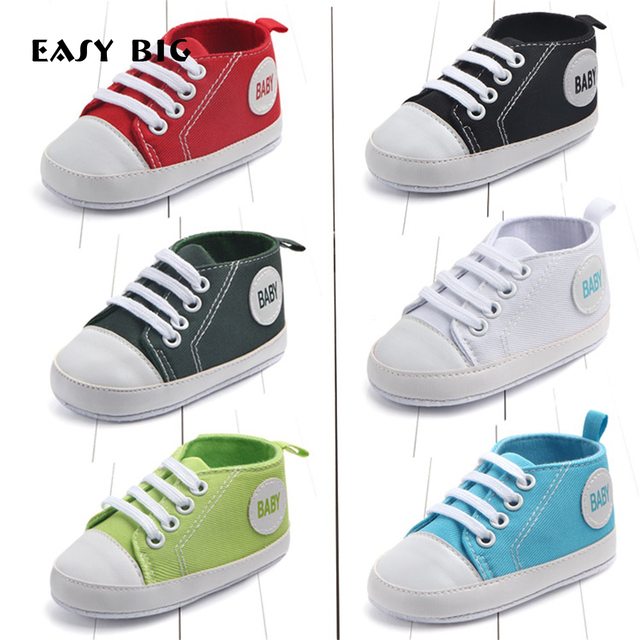 Canvas Classic Sports Sneakers Newborn Baby Boys Girls First Walkers Shoes Infant Toddler Soft Sole Anti-slip Baby Shoes NR0041
