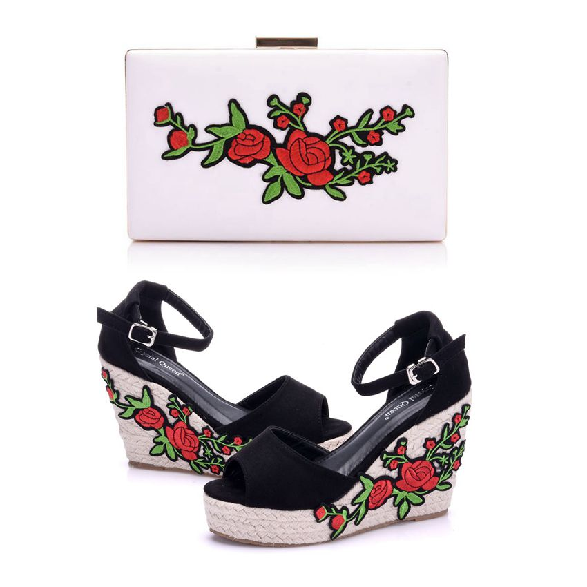 Crystal Queen Woman Sandals Shoes Bohemian Sandals Comfortable Sweet Wedge Heels Shoes for Girls With Matching Bags With Purse