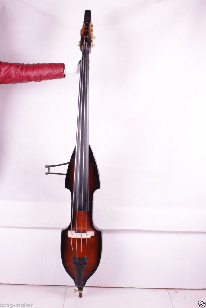 001202# 4  string  brown   3/4 new    Electric Upright Double Bass Finish silent Powerful Sound 00120 1 4 string brown 3 4 new electric upright double bass finish silent powerful sound