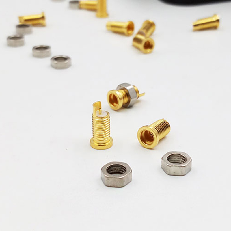 10 Pcs Universal Pin Socket Female Seat Built-in Thread Nut Mmcx Pure Copper Gold Plated Copper(don't Contain The Shell)