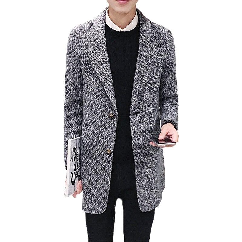 Značka Pánská vlněná srst Kvalitní podzimní zima 2018 Slim fit design muži dlouhá větrovka velká yardy silná kabátová bunda horká