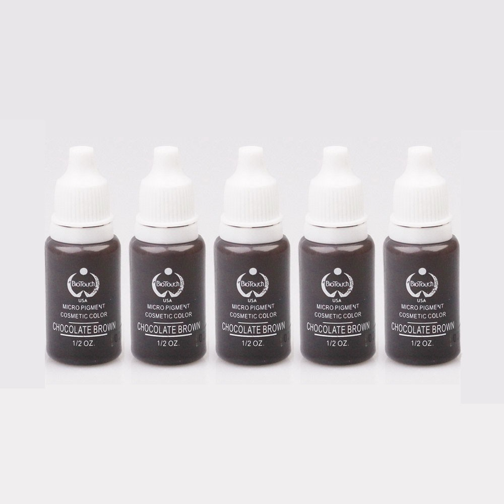 5pcs/lot Chocolate Brown 15ml/bottle biotouch Tattoo Permanent Makeup Eyebrow Micropigment Cosmetic Tattoo Ink 35000r import permanent makeup machine best tattoo makeup eyebrow lips machine pen