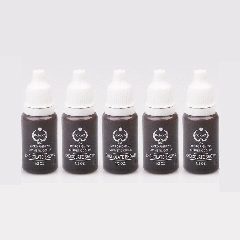 5 stks/partij Chocolade Bruin 15 ml/fles biotouch Tattoo Permanente Make Wenkbrauw Micropigment Cosmetische Tattoo Inkt
