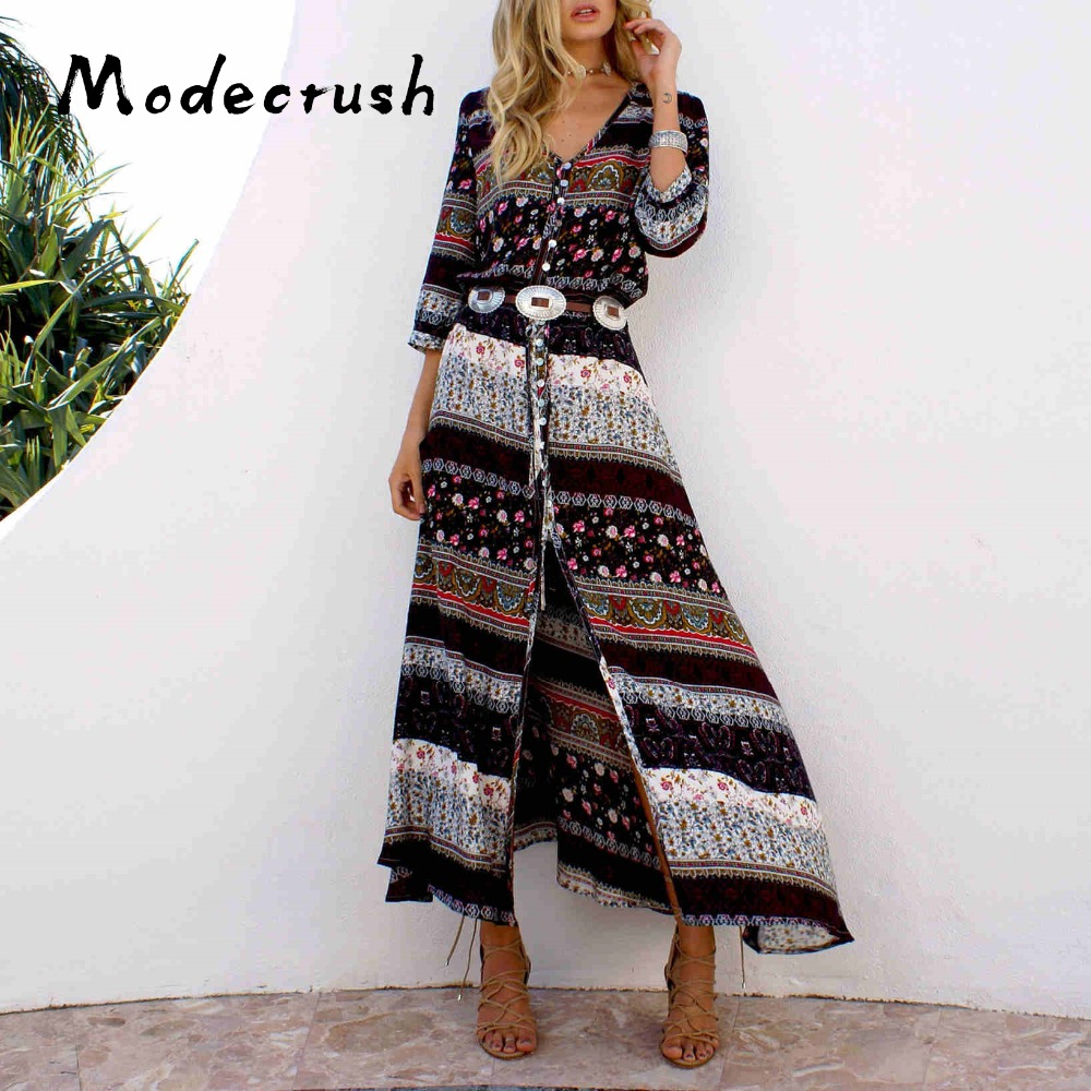 Modecrush Women Boho Summer Dress Floral Print Female Ethnic Sundress A Line Single Breasted V Neck Long Shirt Dress Beach Wear