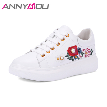 ANNYMOLI Genuine Leather Shoes Women Flats Platform Sneakers Embroider Shoes Creepers Stud Flats White Lace Up Shoes 2018 Black