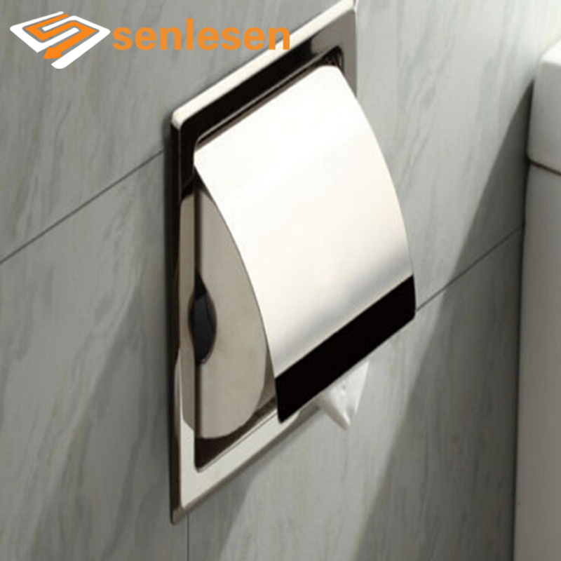 Wholesale And Retail Free Shipping Chrome Finish Stainless Steel Bathroom Toilet Paper Holder Tissue Box Holder цена