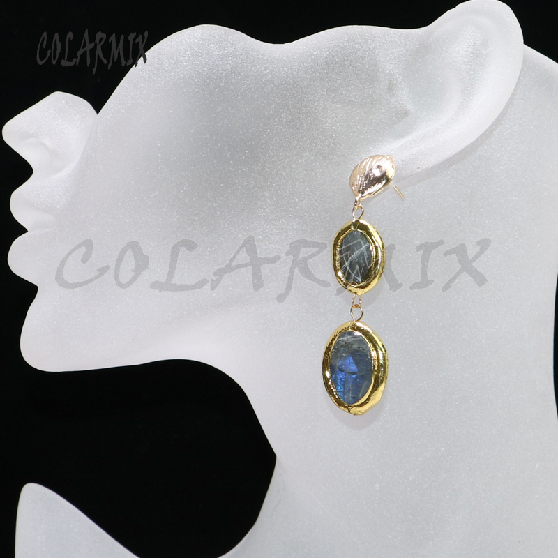5 pairs double stone earring labradorite drop earrings Gems stone jewelry gems jewelry for women hook earring gift  9051