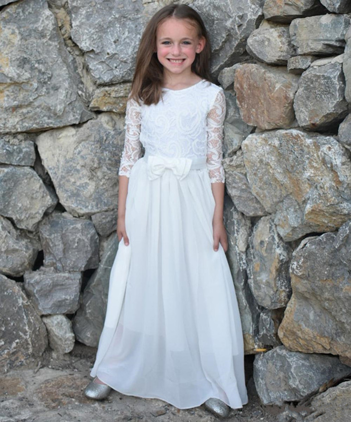 Lace Top Tulle A-line Dress For Princess Customized Flower Girl Dress Full Sleeves Holy First Communion Gowns Cheap Price LongoLace Top Tulle A-line Dress For Princess Customized Flower Girl Dress Full Sleeves Holy First Communion Gowns Cheap Price Longo
