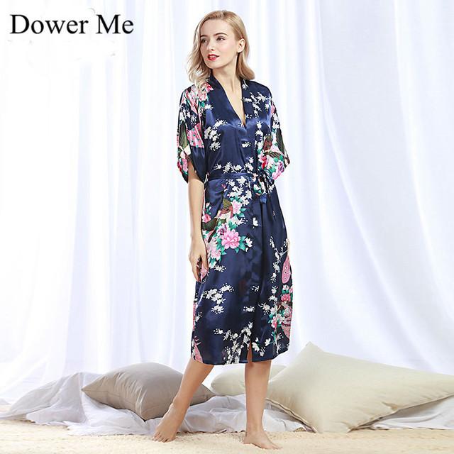 Dote Me 2017 Primavera Mulheres Robes Verão Mulheres Sexy Sleepwear, moda Seda Salão Fresco Macio Mulheres Pijamas Onesies