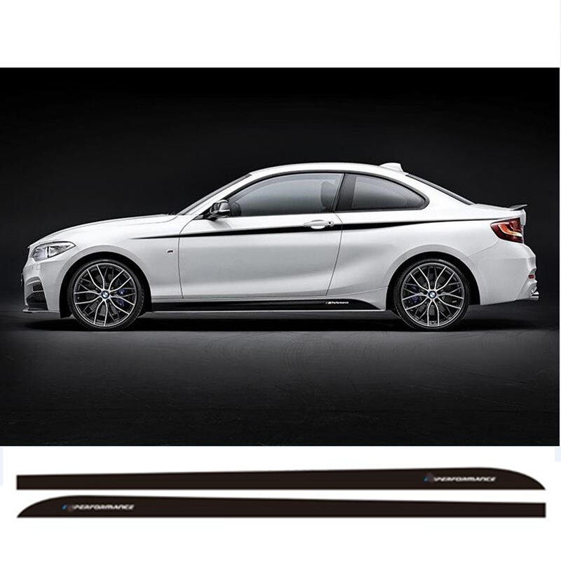 Charming Horse 2168 Store Pair of New M Performance Side Skirt Racing Stripe Sticker Decals For BMW 2 series F22 F23 220i 228i 235i
