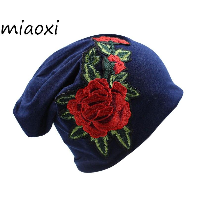 [miaoxi] New Fashion Women Rose Hat Fashion Adult Female Beanies For Ladies Autumn Warm Cotton Hat Caps Floral Bonnet Girls Cap female caps for autumn