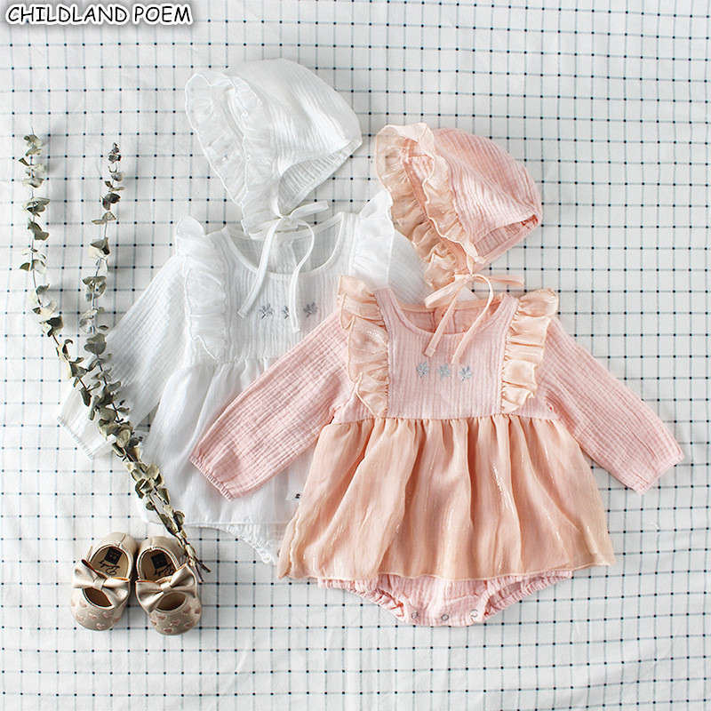 все цены на Baby Girls Clothes Autumn Baby Romper Girl Long Sleeve Infant Newborn Baby Clothes lace Princess 1st Birthday Party Clothes