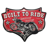 Pentagram Spades Built To Ride Motorcycle Embroidered Iron On Patches For Clothing Full Back Stickers On Clothes Iron Patch