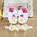 fabric toddler baby booties;first walker brand baby shoes girls headband set;newborn baby girls shoes christening