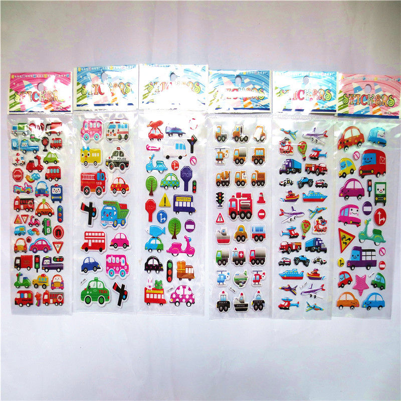 3pcs/lot Bubble Stickers 3D Cartoon car Puffy Sticker Classic Toys Scrapbook For Kids Children Gift Reward Sticker 6 sheets lot 3d puffy bubble stickers mixed cartoon kawaii stickers toys dress up girl changing clothes kids toys for children