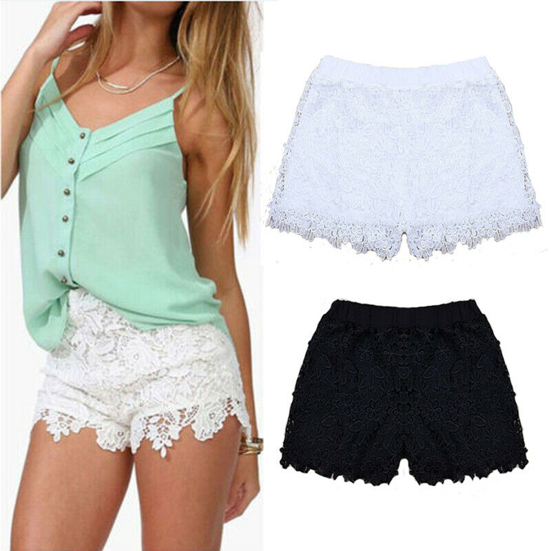 2019 New Fashion Ladies Women Casual High Waisted Lace Shorts Summer Floral Hot Shorts Trousers
