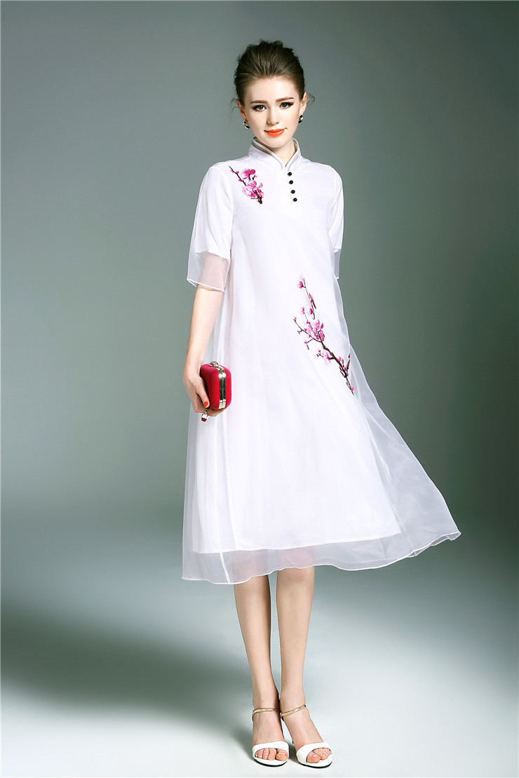 Free shipping Spring/Summer original design Chinese style peach flower Embroidered big size loosen organza long dress for women - 2