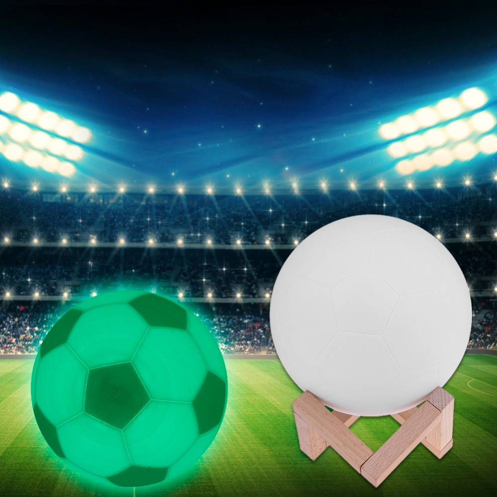 Creative 3D Printing LED Football Shape Lamp USB Rechargeable Touch Switch Colorful Atmosphere Novelty Lighting Night Light image