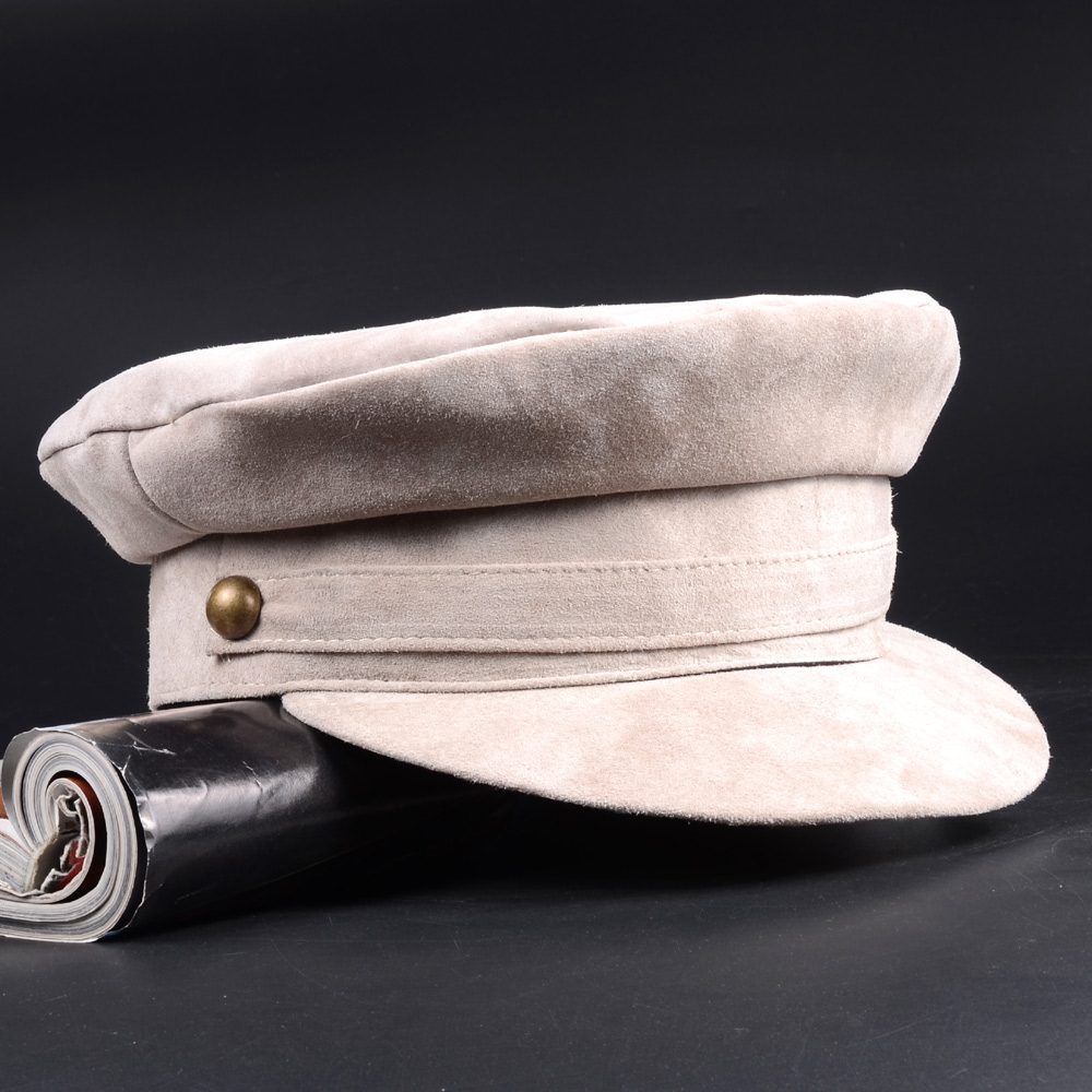 RY994 2019 Spring Men Women Genuine Leather Nubuck Berets Caps With Belt Buckle Students Navy Golden