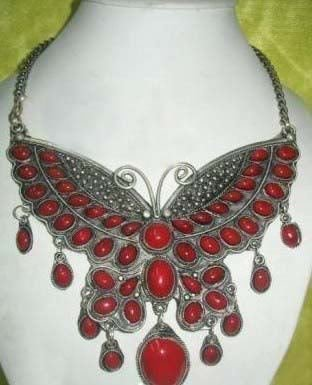Hot Fashion Jewellery Beautiful tibet Silver Inlay Red Coral Butterfly necklace pendant free shipping