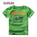T-Shirt Dos Meninos do bebê Crianças Verão de Algodão Camisa de Manga Curta Meninos Casuais Roupas Da Moda Crianças Carta Impressão Bicicleta Tops T Do Bebê