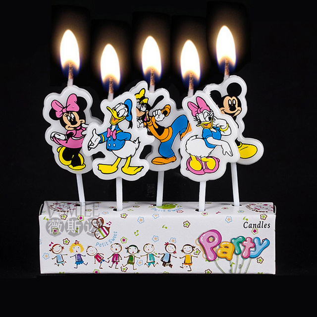 5pcs Mickey Minnie Mouse Donald Duck Princess Theme Kids Girls Boys Happy Birthday Party Candle Cake Decoration Supplies