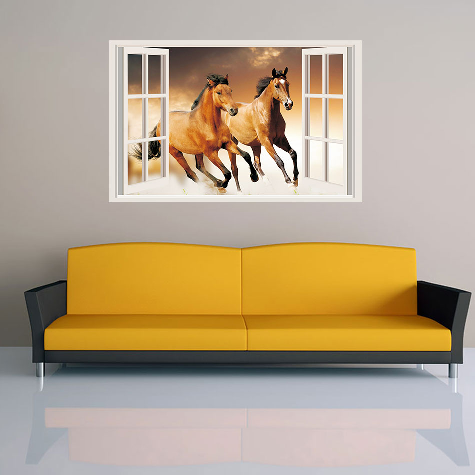 HORSES 3D Window View Decal Removable Vinyl WALL STICKER Home Decor ...