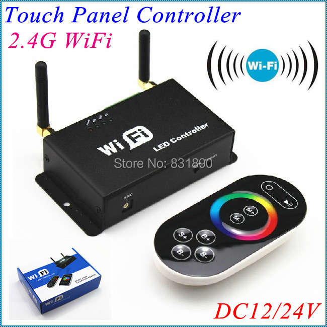 Freeshipping Dual antenne 2.4G WiFi LED Controller RGB gecontroleerd door Remote/Mobiele/Ipad met Android/IOS systeem 12 V/24 V Controle