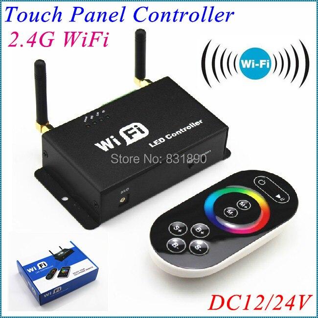 Freeshipping Dual antenne 2,4G WiFi LED Controller RGB per Fernbedienung gesteuert/Handy/Ipad mit Android/IOS system 12 V/24 V Control