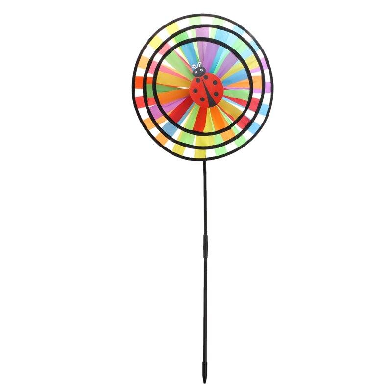 Colorful Rainbow Triple Wheel Wind Spinner Windmill Garden Yard Outdoor Decor W15