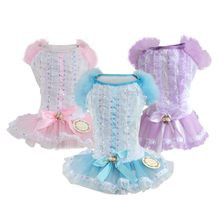 Pet Puppy Dog Dress Cat Tutu Skirt Puff Sleeves Evening Dresses For Small Dogs Chihuahua Pink/Blue/Purple Costumes(China)