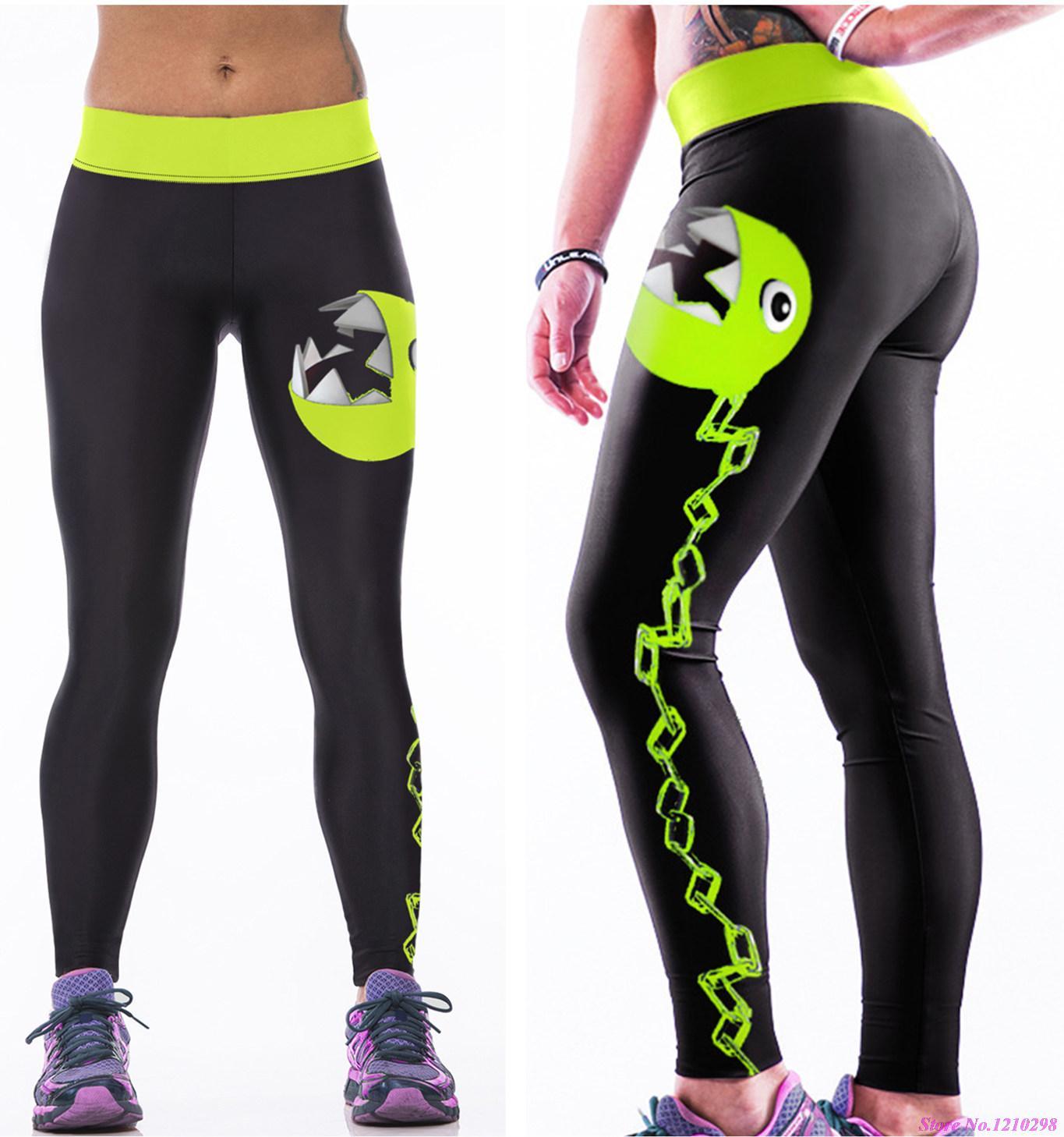 Female Fitness Running Trousers Slim Leggings SHINY GREEN
